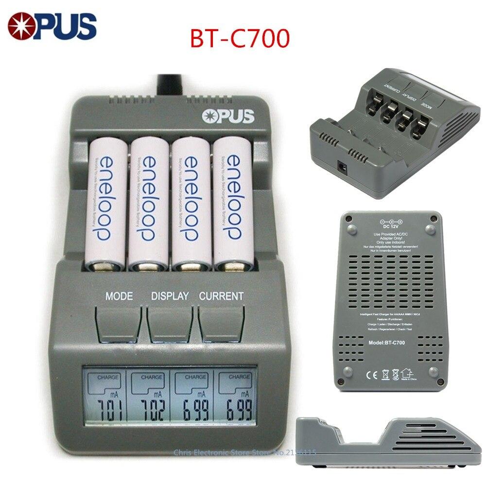 Original Opus BT-C700 NiCd NiMh LCD Digital inteligente AAA 14500 AA cargador de batería actualizado de BM110 adaptador UE EUA BT C700