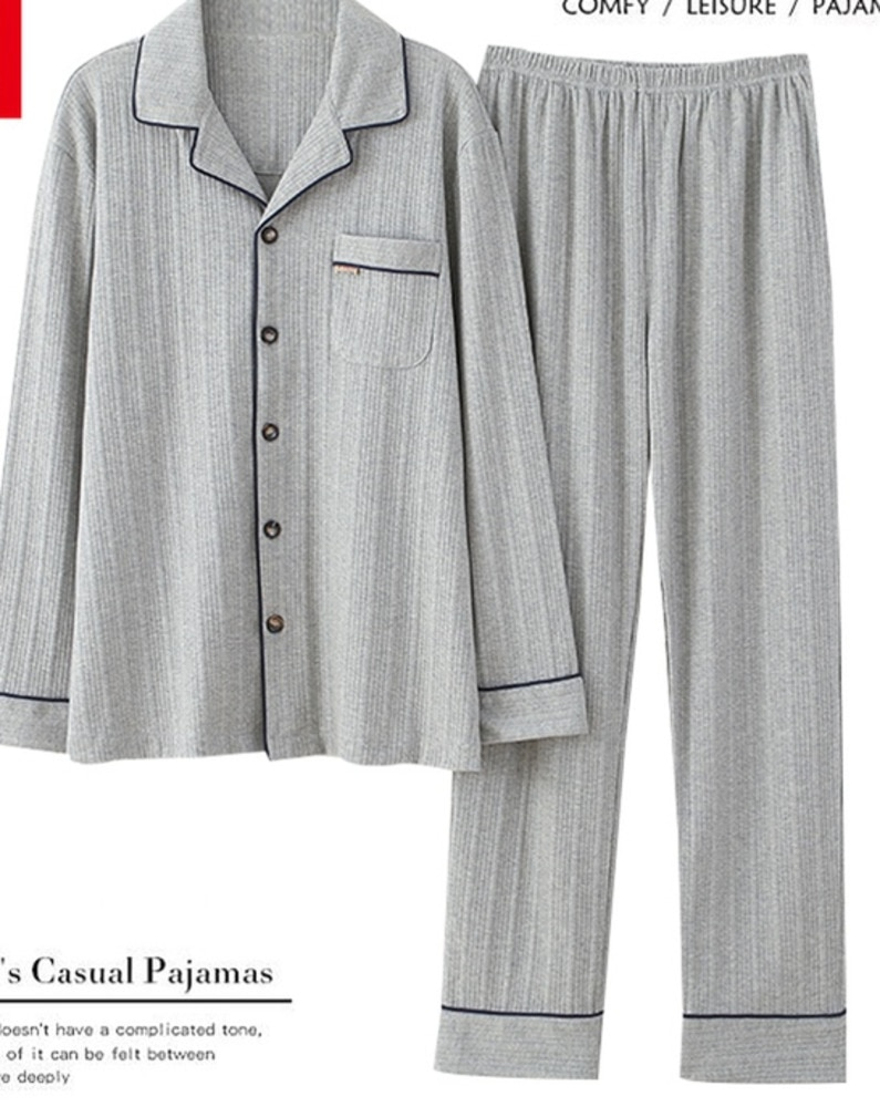 Cotton Men's Pajamas Spring and Autumn Long Sleeved Cardigan New Autumn and Winter Youth Men's Simpl