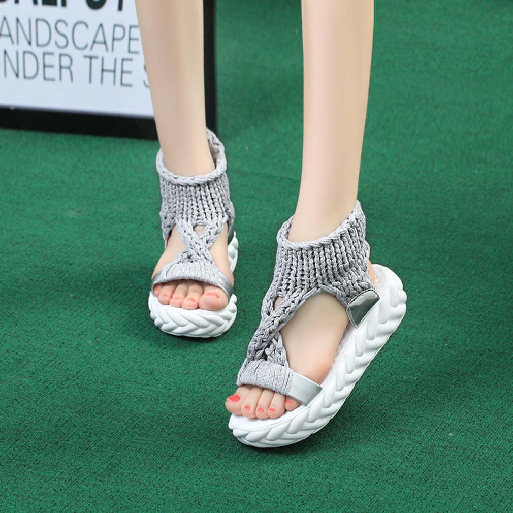 Sandalias de gladiador para mujer, Zapatos de verano planos, defondo grueso, zapatillas...