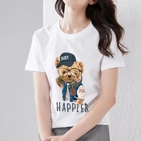 womens t shirt cartoon cute trendy cool bear print series cute t shirt youth commuter breathable soft ladies round neck top