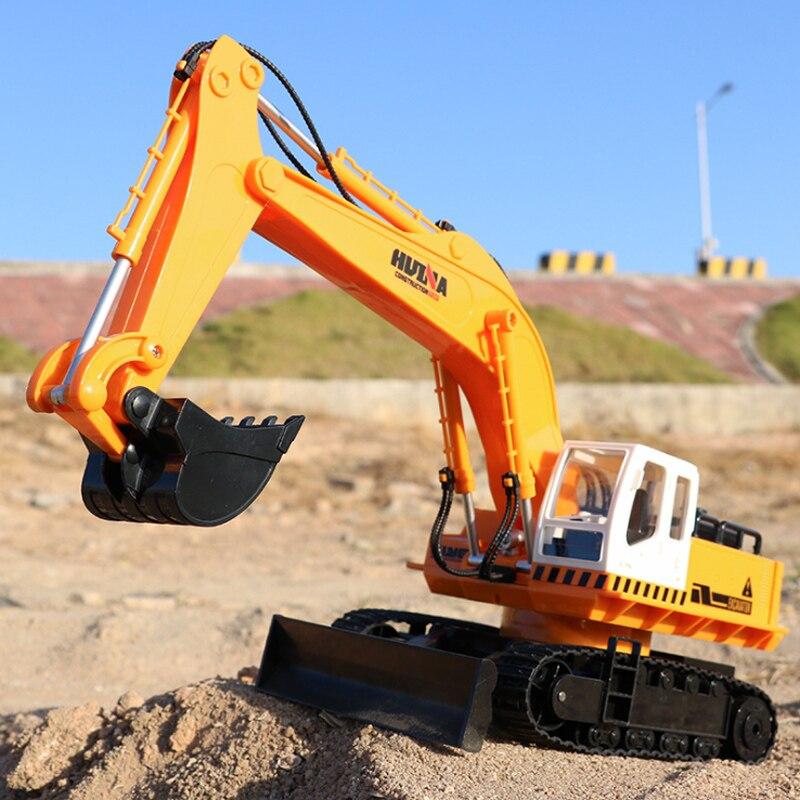 Excavator 11-Channel Remote Control Push Bulldozer Children Electric Toy Car Remote Control Engineering Car Set enlarge