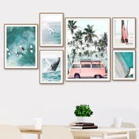 sea beach coconut tree surfboard whale wall art canvas painting nordic posters and prints wall pictures for living room decor