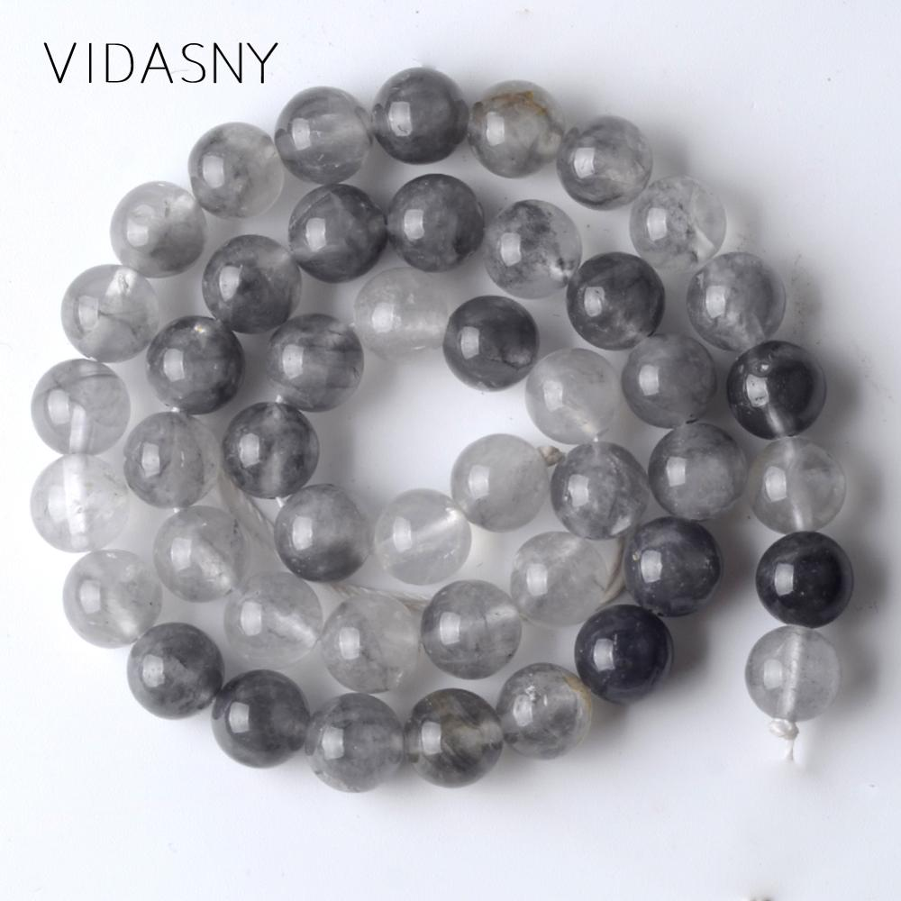 Natural Stones Grey Cloudy Quartz Beads For Jewelry Making 4 6 8 10 12mm Round Spacer Beads Fit For