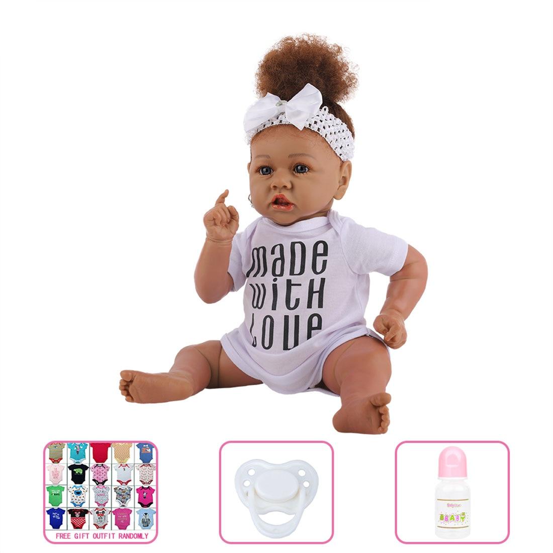 23 adorable adorable adorável pouco gril silicone renascer bebê enchido boneca meninas bestmate-C44-37 corpo de silicone (roupas aleatórias)