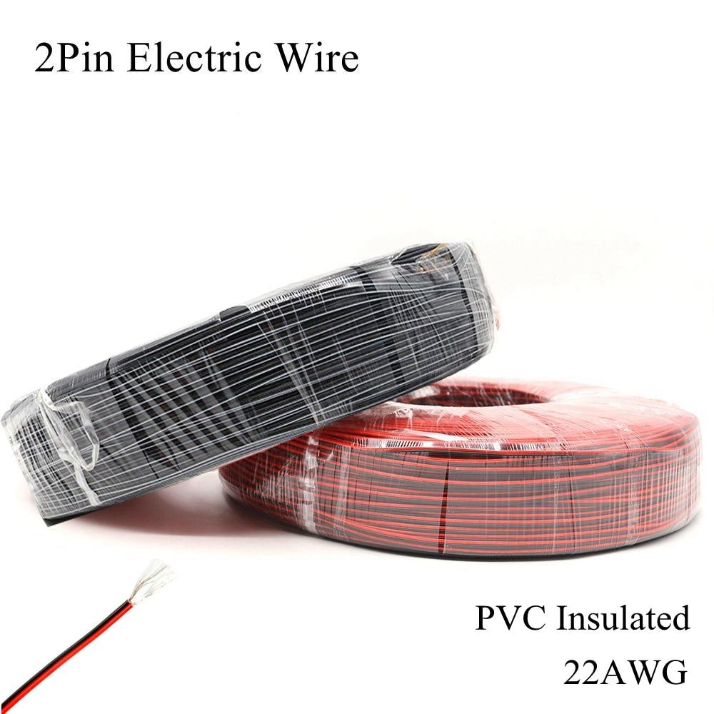 22awg 2pin fio elétrico vermelho preto estanhado cabo de cobre pvc elétrico estender conectar diy linha lâmpada iluminação led tira fita corda