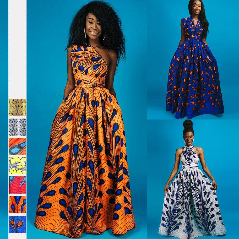 فساتين إفريقية صيفية على الموضة لعام 2021 للنساء ملابس كانجا الأفريقية التقليدية فستان طويل للحفلات للسيدات ملابس متعددة