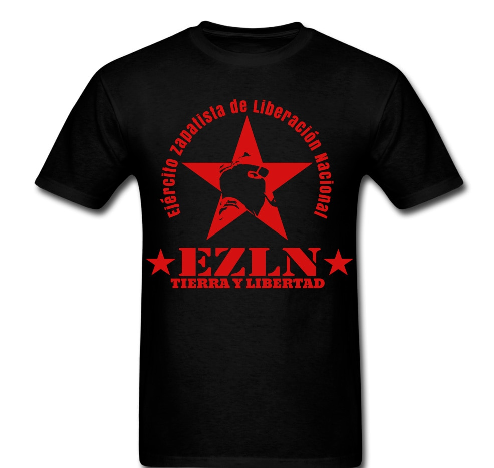 2020 moda masculina venda quente t camisa moda legal camisas zapatista ezln estrela tierra y libertad homem máscara camiseta