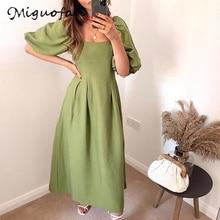 za*a dress square collar puff sleeve summer fashion elegant green long dress vestidos de verano women clothing 2020 robe longue