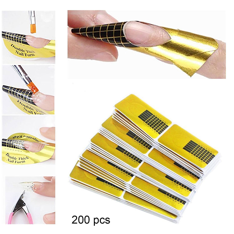 200 Uds., forma de extensión de puntas de uñas profesionales, pegatinas de guía para acrílico UV Gel, herramienta de manicura para arte de uñas DIY