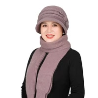 middle aged rabbit hair hat elderly knitted wool cap lady winter mother grandma thickening warmth wool hat scarf
