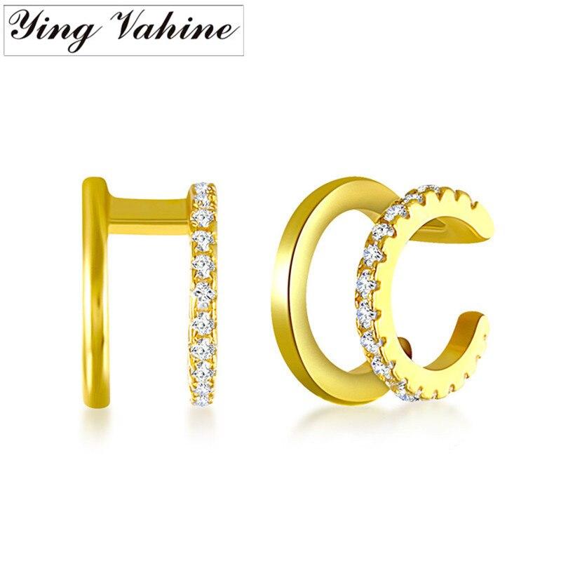 Ying Vahine Neue 1 Paar 100% 925 Sterling Silber Zwei Schichten Ohr Manschette Clip Ohrringe für Frauen