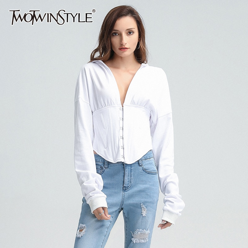 TWOTWINSTYLE Solid Color Harajuku Hoodies Women Long Sleeves Undefined Brand Crop Top Women's Sweatshirt Y2k Women Clothing 2021