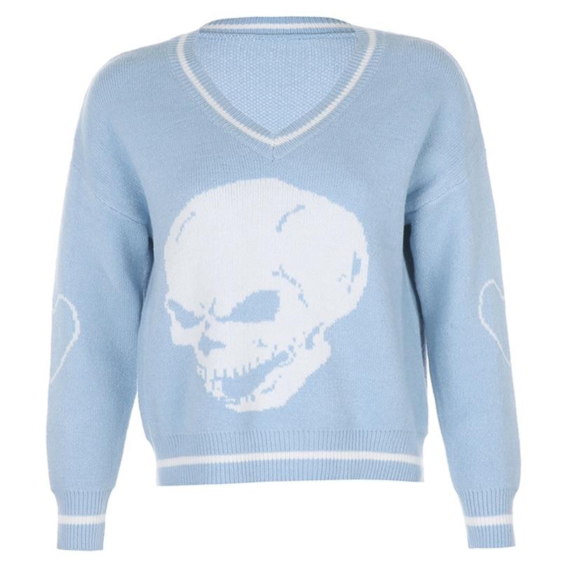 Women Long Sleeve V-Neck Sweater Striped Skull Pattern Blue Loose Knitwear Tops