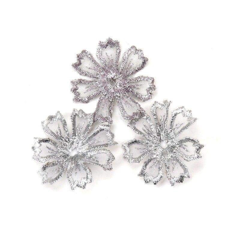 10 Uds. Hilado hilado bordado aplique de flor de encaje recorte artesanía de costura DIY Pathces para accesorios de ropa