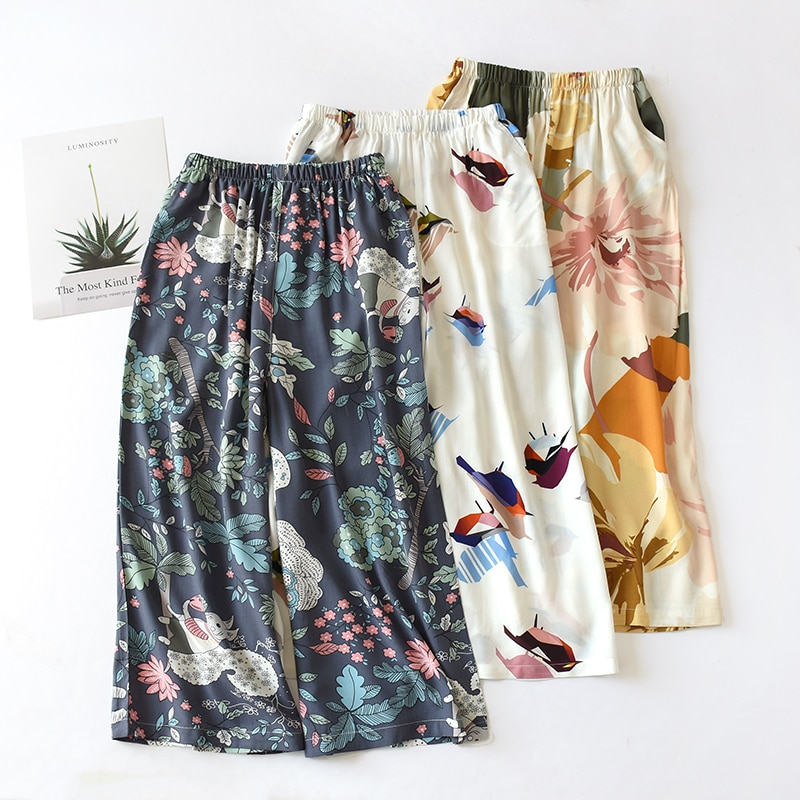 Summer Sleep Wear for Women Pajama Printing Loose Sleeping Pants Calf-Length Pants Spun Rayon Lounge