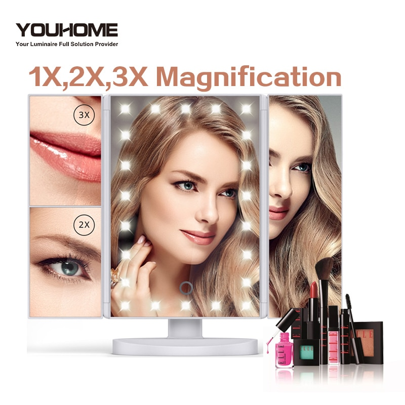 LED تعمل باللمس مرآة التجميل 1X/2X/3X/10X المكبرة مرآة قابل للتعديل angl التجميل هدية الغرور الجدول سطح المكتب ماكياج مرآة