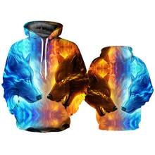 Mode Uniex loup Animal 3D imprimé sweat à capuche hommes/femmes Shinning loup conception sweats 3D