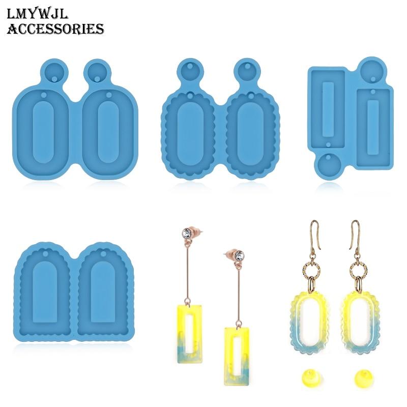 DIY earrings silicone mold for resin oval rectangular earrings pendant epoxy resin mold jewelry molds for resin casting gemstone jewelry silicone mold is suitable for resin epoxy resin diy craft earrings pendant earrings jewelry making