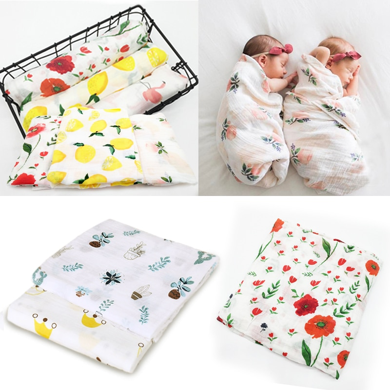 100% Cotton Muslin Baby Blankets Swan Rose Fruits Print Bedding Infant Swaddle Towel for Newborns Swaddle Blanket baby blanket swan s down collection premium production company ecotex russia