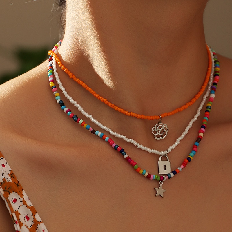 Meetvii nowe czeskie kolorowe małe koraliki kwiat Choker wyróżniający się naszyjnik krótka, z kołnierzem łańcuszek do obojczyka naszyjnik dla kobiet biżuteria