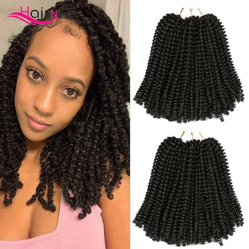 Hair Nest Blonde Ombre Spring Twist Hair Crochet Braids Passion Spring Twist Synthetic Braiding Hair Extensions 8 Inch 110g onxy 8inch fluffy spring twist crochet hair extensions synthetic crochet braids black brown ombre braiding hair 110g
