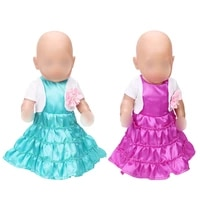 43 cm baby dolls dress newborn small coat evening gown flower baby toys skirt fit american 18 inch girls doll f420