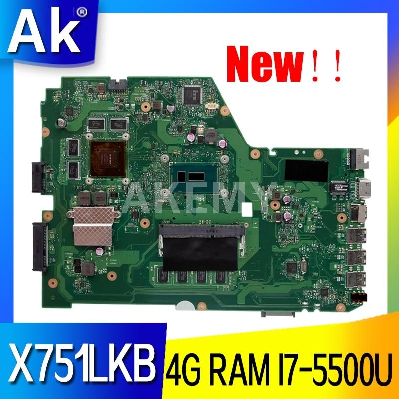 Akemy X751LK اللوحة الأم REV 2.0 ل For Asus X751LK X751LKB X751LX اللوحة الأم للكمبيوتر المحمول GTX 850M 4G RAM I7-5500U