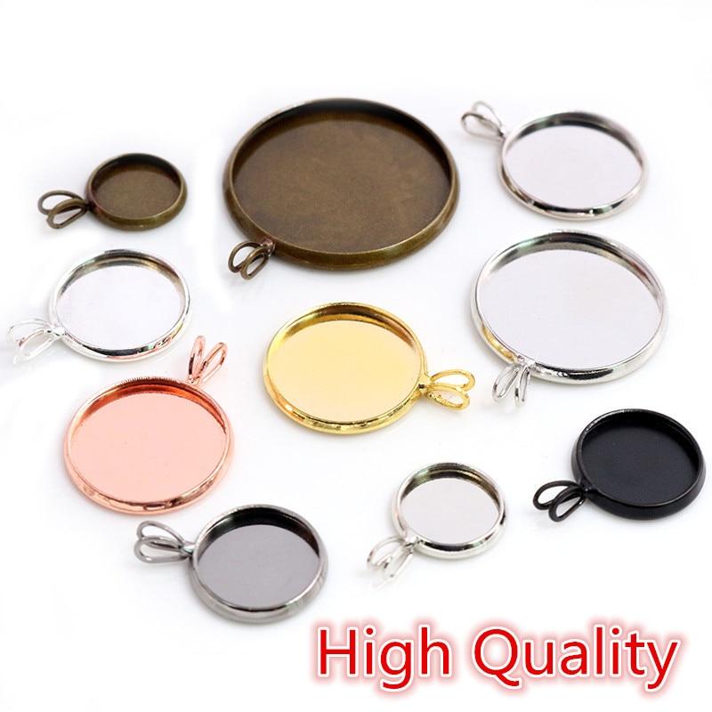 Alta calidad 10mm 12mm 14-25mm tamaño interno Material latón estilo V cabujón Base camafeo ajuste encantos colgante bandeja