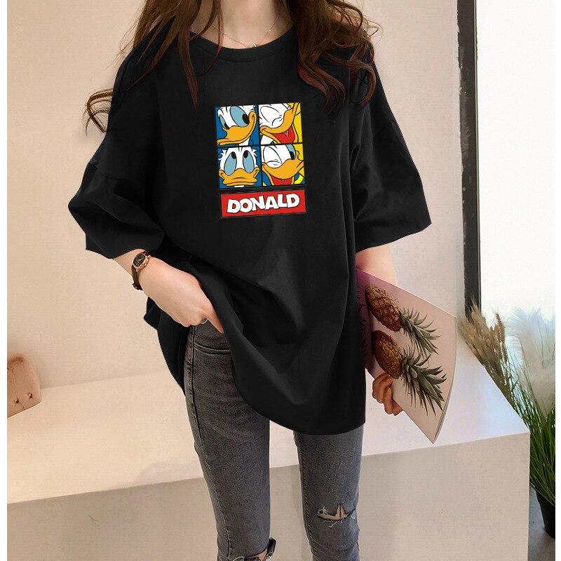 2020 camisetas mujeres camisetas patos Nouveau Coton Manches Courtes amplio Grande Taille camiseta Femme Haut Blanc superior corto