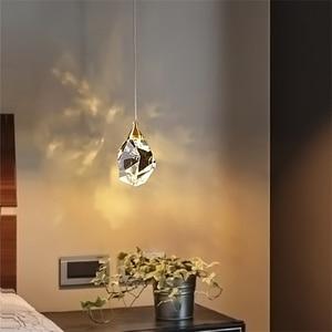 Modern Luxury K9 Crystal Bedroom Bedside Pendant Lamp Nordic Dining Kitchen Suspension Pendant Light Bar Cafe Shop Hanging Light