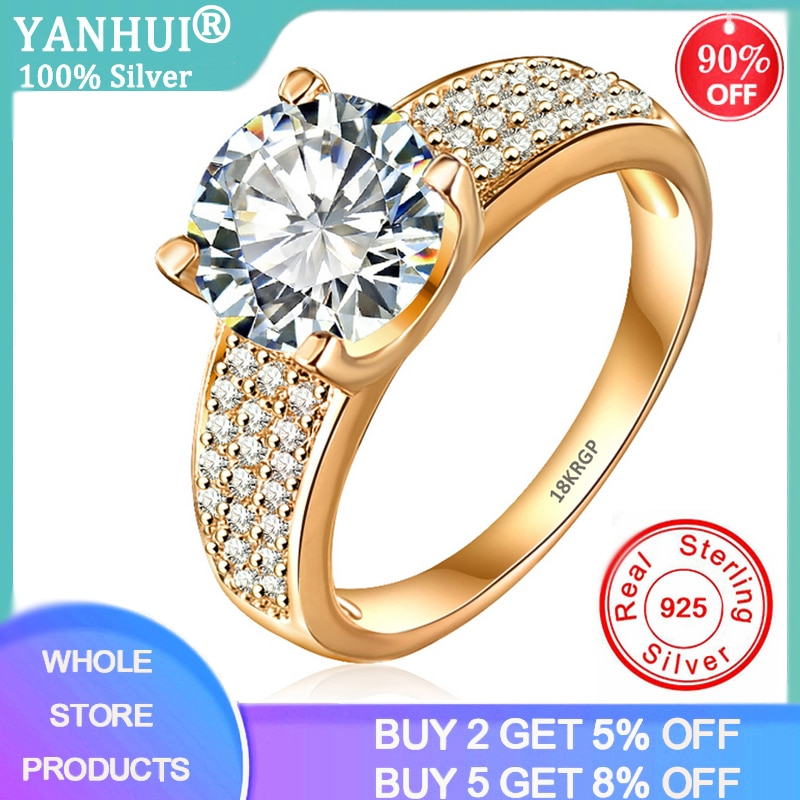 YANHUI Have 18K RGP Stamp Pure Solid Yellow Gold Ring Solitaire 2ct Lab Diamond Wedding Rings For Women Silver 925 Jewelry Ring 95% off with certificate luxury solitaire 2 0ct zirconia diamond ring 925 solid silver 18k white gold wedding rings for women