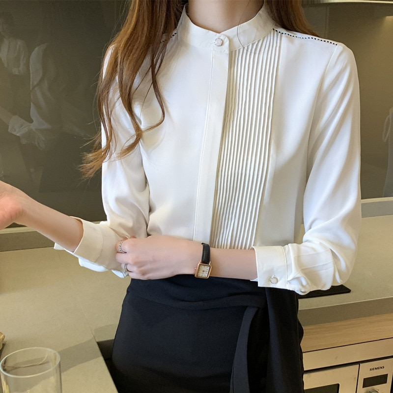 Yg Brand Women's Clothing 2021 Spring And Summer New Small Stand Collar White Shirt Women's Professi