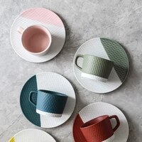japanese handmade coarse pottery coffee cup and saucer color stripe frosted afternoon tea mugs party drinkware