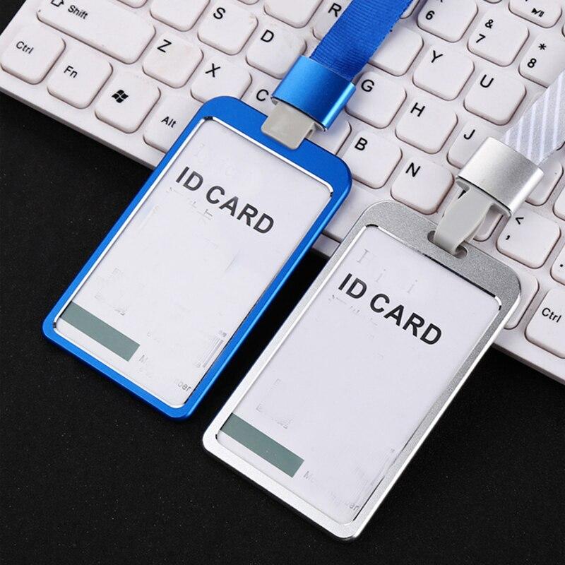 Tarjetero metálico para hombre y mujer funda con insignia para tarjetas de crédito de moda para banco cartera para trabajo de oficina