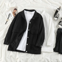 Black Denim Jacket Women's 2021 Spring New Korean Style Ins Retro Easy Matching Student Outer Wear W