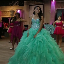 Vert menthe robe de bal Quinceanera robes 2020 chérie brillant perles cristal luxe doux 15 16 robe grande taille sur mesure
