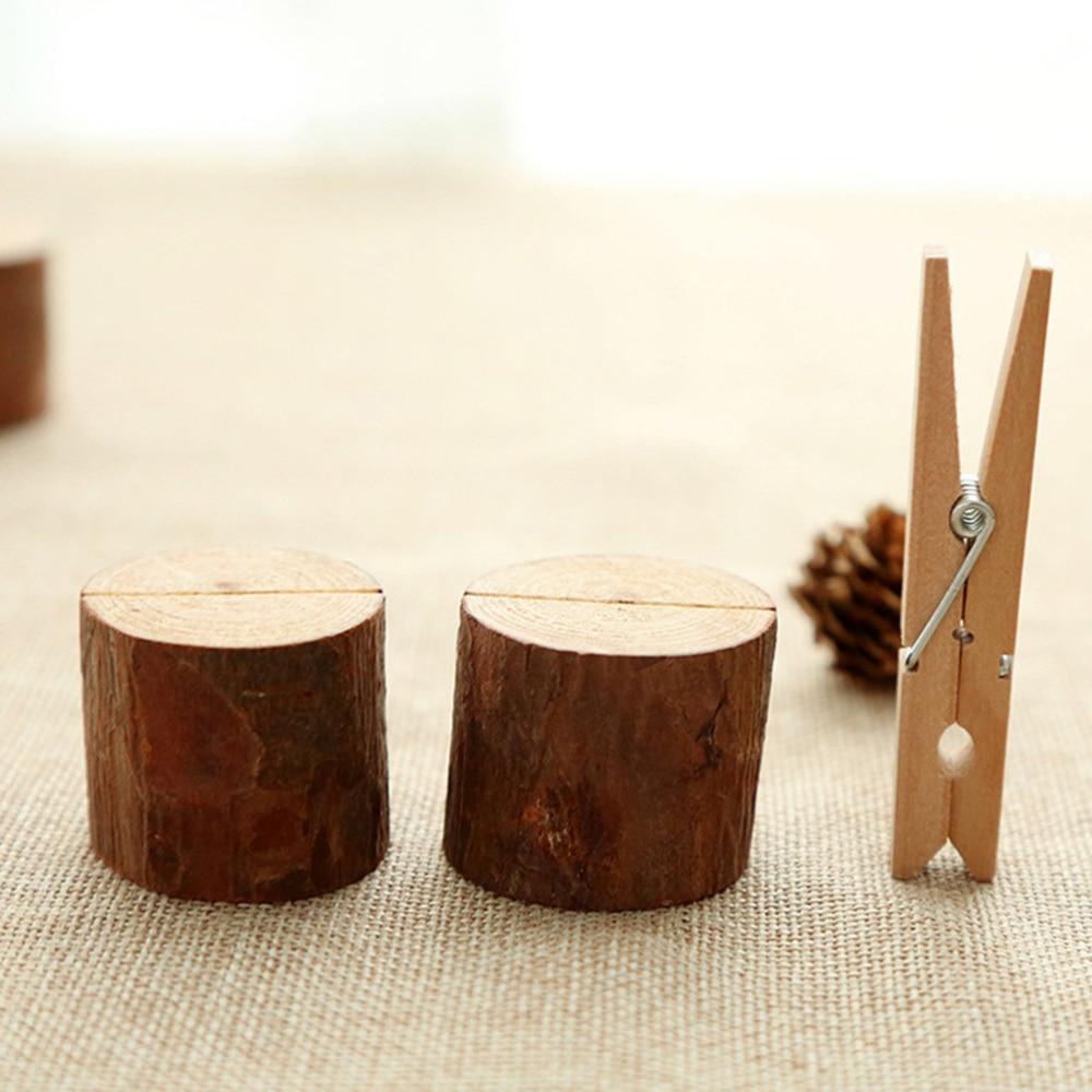 1 Set DIY Ornament Wooden Log Stump Note Holder Photo Folder With Paper Cards
