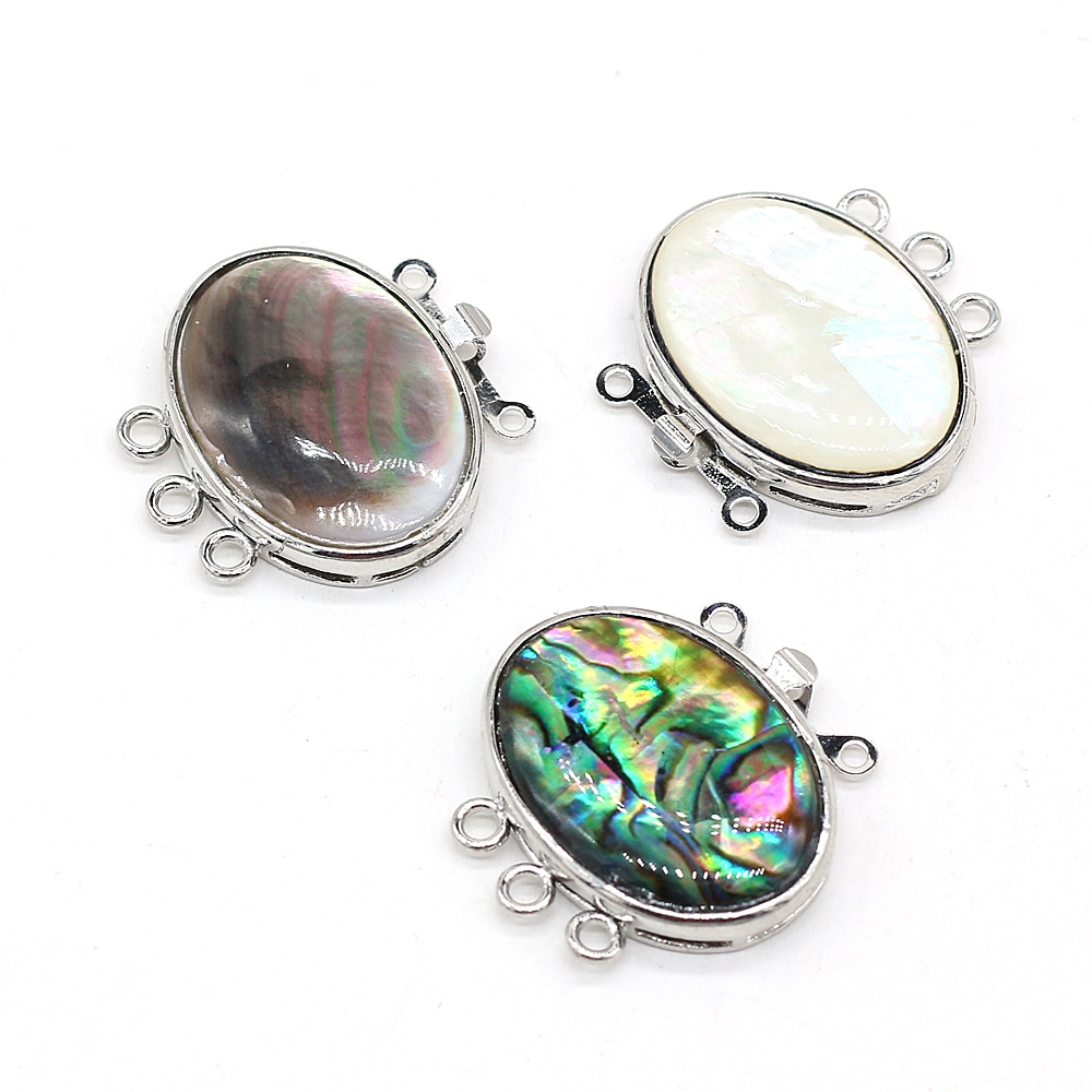 Natural Shell Pendant Connectors Egg Shape Abalone Shell White Black Shell Link Charms for Jewelry Making Necklace Bracelet недорого