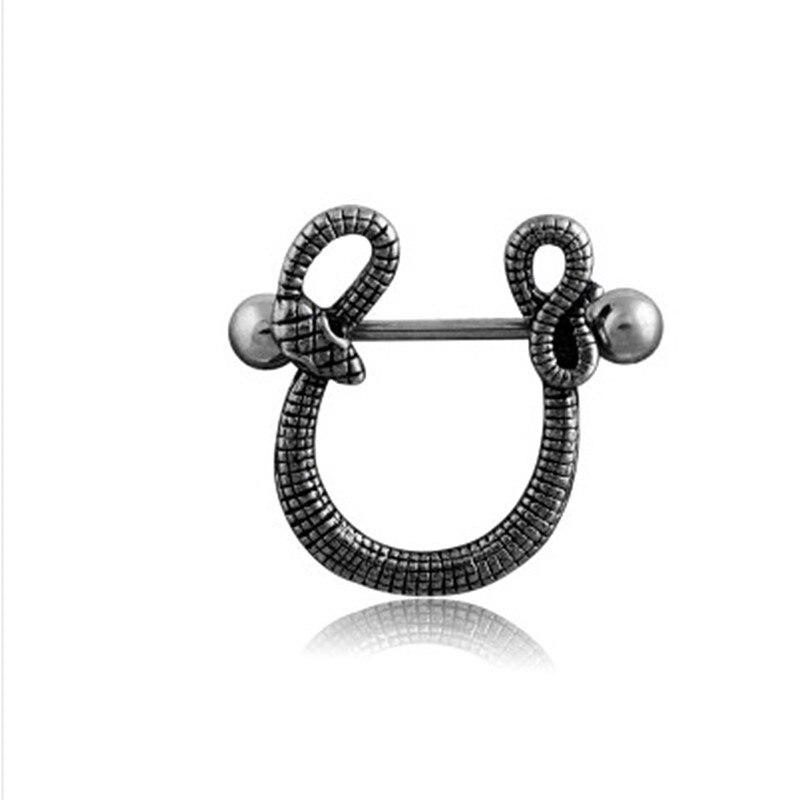 1 Uds barra de acero inoxidable tipo serpiente Barra de Luna Piercing de Aro para pezón barra de labios Piercing de cuerpo joyería