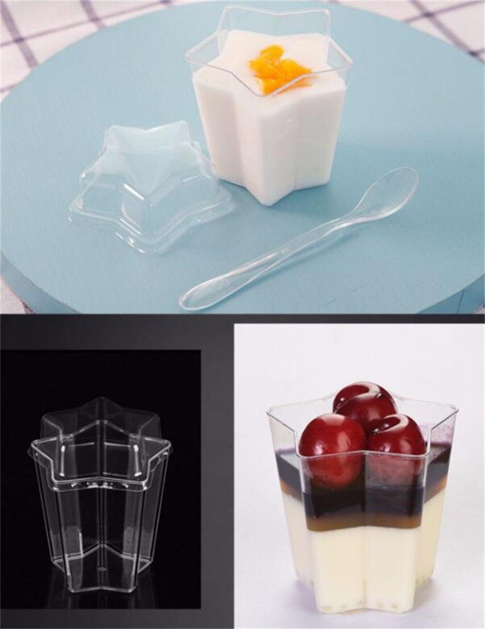 50 قطعة/الوحدة 4.5 أوقية واضح البلاستيك الآيس كريم Bowls الحلوى أكواب زهرة قابلة لإعادة الاستخدام أو المتاح Sundae حامل Parfaits بهلوان