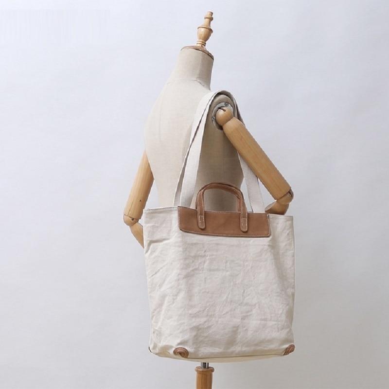 M410 New Korean Canvas Womens Bag One Shoulder Japanese Style Original Large Capacity Slant Span Handbag With Cowhide Splicing