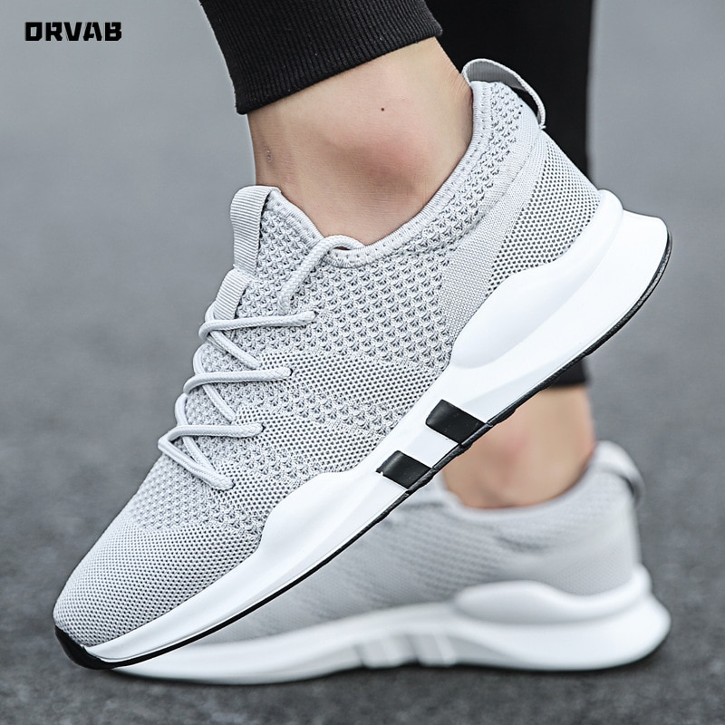 Summer Brand Fashion Men Casual Shoes Light Breathable Mesh Shoes Men Sneakers Lace Up Gray White Bl