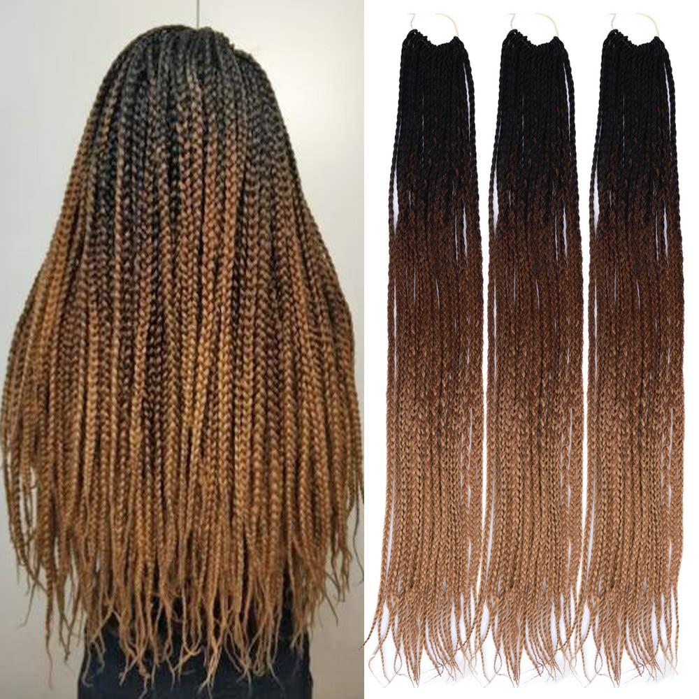 "ONYX Box trenzas pelo 24 ""largo degradado Crochet pelo 22/hebras sintético Crochet pelo para mujeres trenzas africanas"