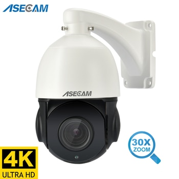 8MP 4K IP Camera Outdoor PTZ 30X Zoom CCTV Varifocal Onvif H.265 Dome Security POE Two Way Audio Video Surveillance SD Card Slot