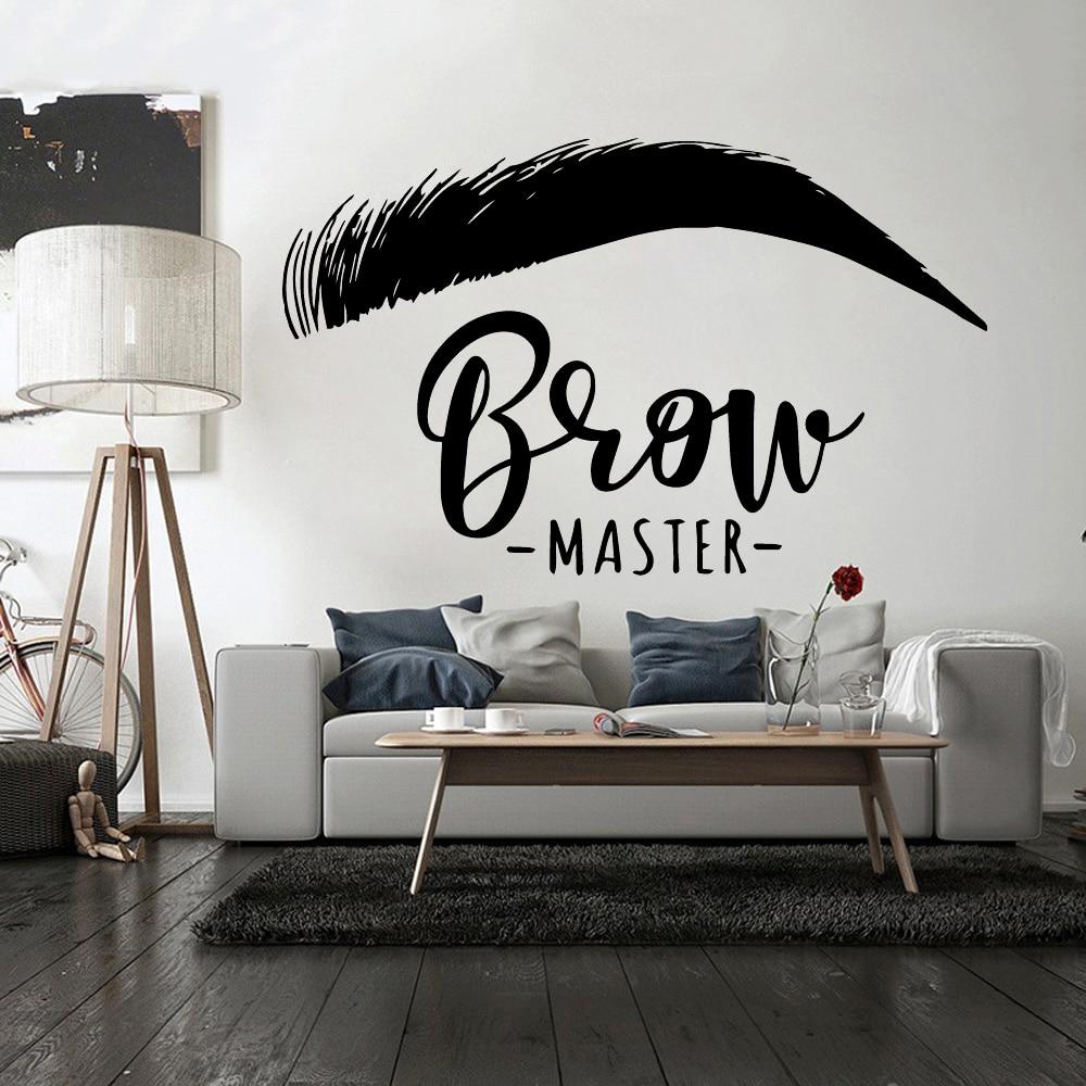 Красивая наклейка на стену для бровей, украшение для ресниц, Виниловая наклейка для салона красоты, стикер для комнаты, Наклейки на стены для бровей, плакат