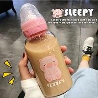 cute cartoon glass water bottle pacifier straw cup suitable for adult children milk glass bottle baby feeding bottle