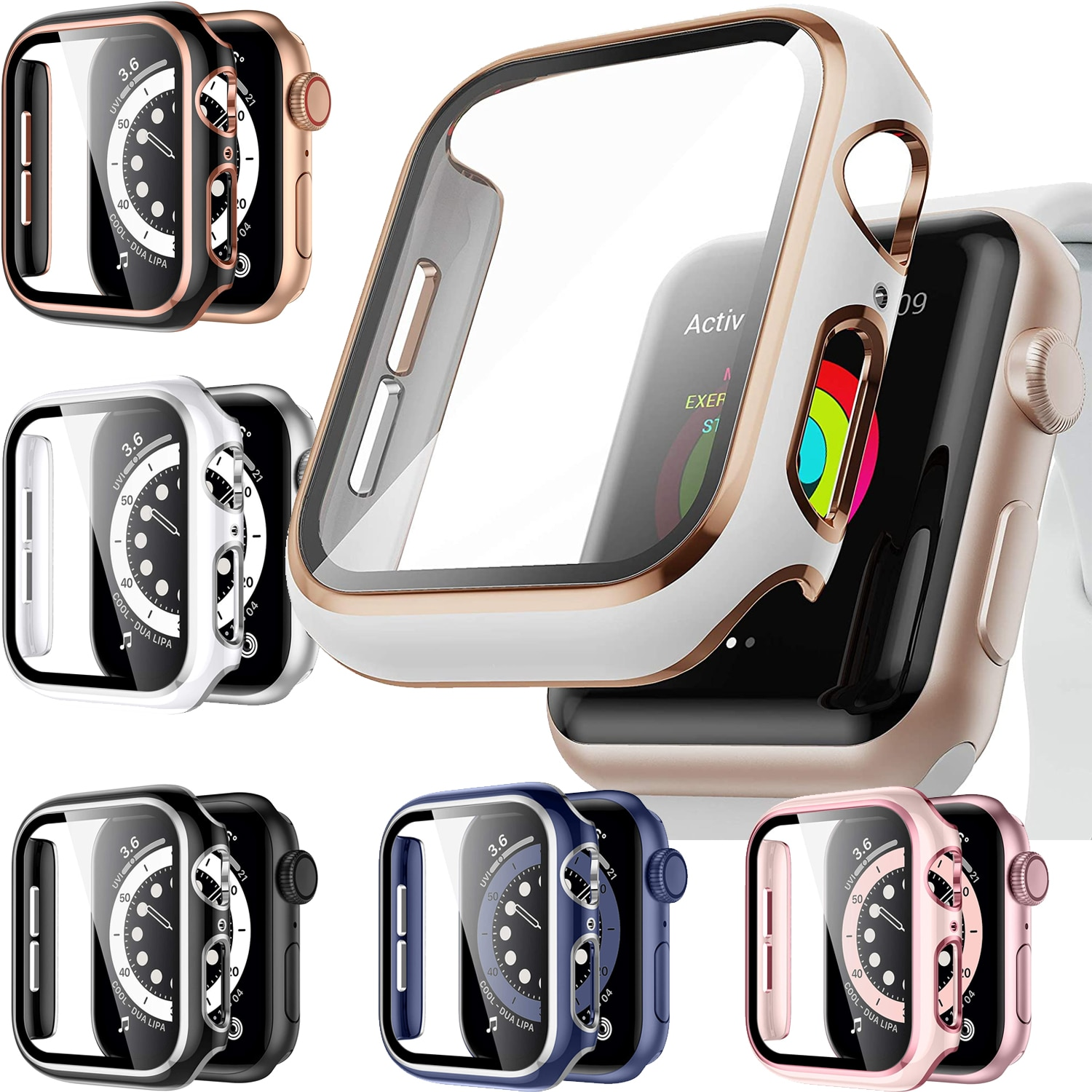 for apple watch tempered glass 44 38 42 40 mm full coverage curved edge frame bumper for i watch series 4 3 2 1 screen protector Full Screen Protector Bumper Frame Case for Apple Watch 6/SE/5/4/3/2/1 Cover Slim Tempered Glass Film for iWatch 4/5