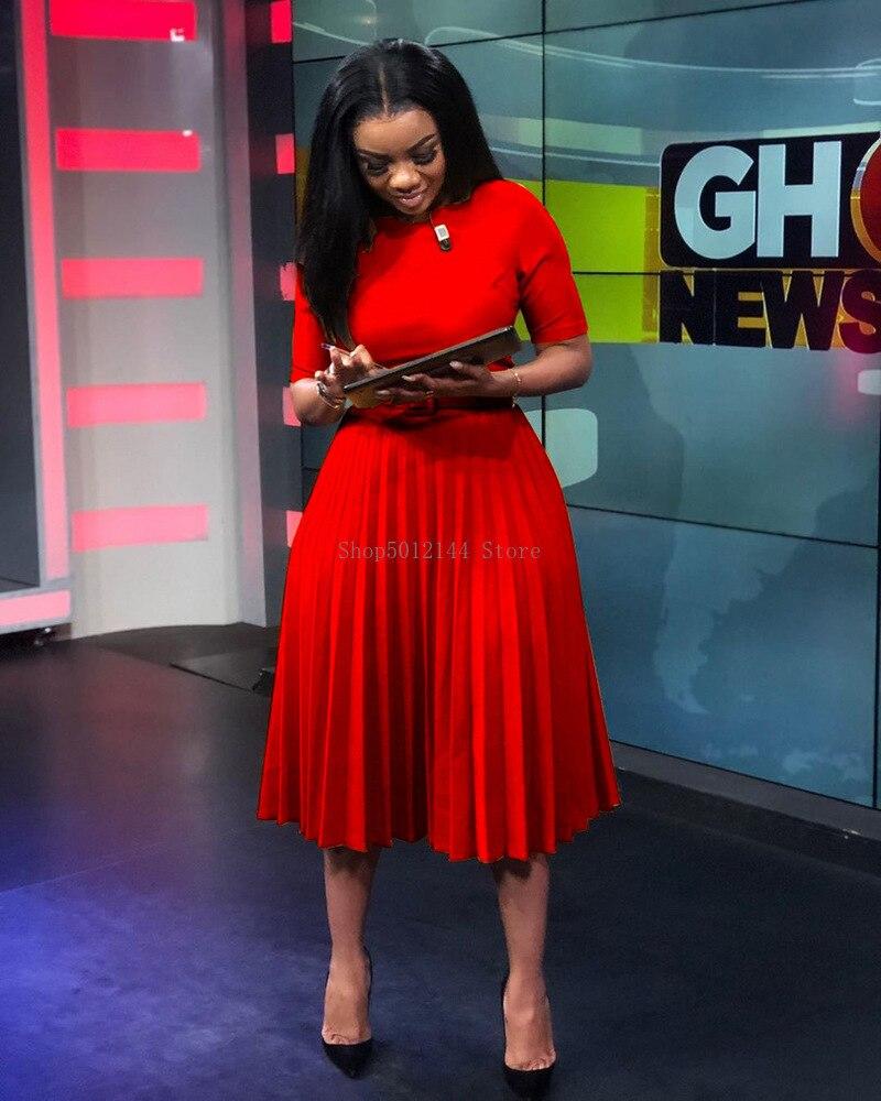 Женское повседневное элегантное плиссированное платье в африканском стиле с поясом, шикарное офисное платье трапециевидной формы с высокой талией, мода осень-зима 2020