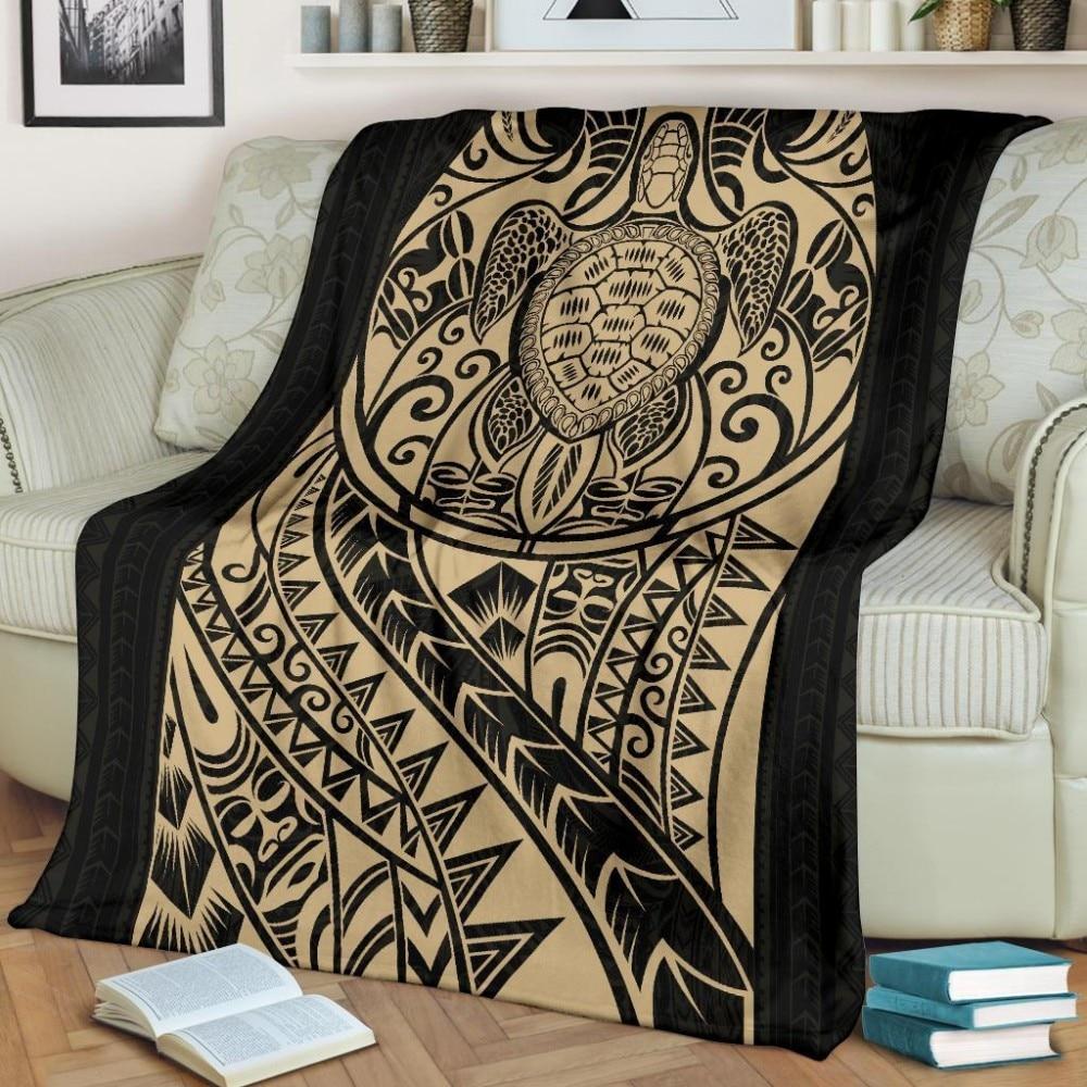 Super suave franela 3D belleza moda 150x200cm manta de lana regalo Dropshipping polinesian tortuga manta Premium