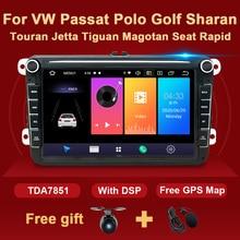 Autoradio GPS Android 2 Din multimédia pour VW Passat B6 CC Polo Golf 5 6 Touran Jetta Tiguan Magotan siège rapide Fabia pas de DVD